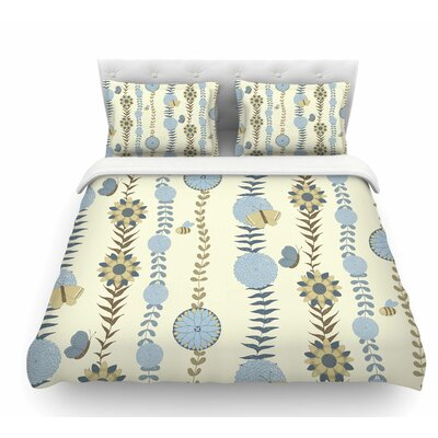 Flower by Judith Loske Featherweight Duvet Cover Size: Queen, Color: Blue/Beige