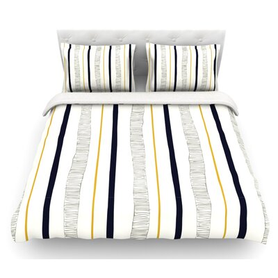 Textured Stripes by Laurie Baars Abstract Lines Featherweight Duvet Cover Size: Queen, Fabric: Woven Polyester