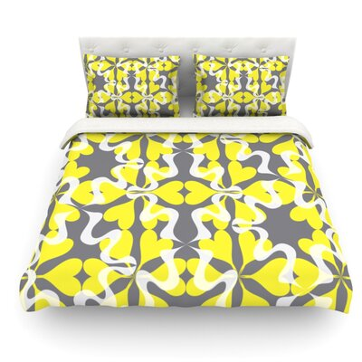 Flowering Hearts by Miranda Mol Featherweight Duvet Cover Size: Twin, Fabric: Woven Polyester