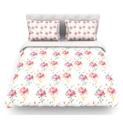 Cross Stitch Flowers by Laura Escalante Featherweight Duvet Cover Size: Queen