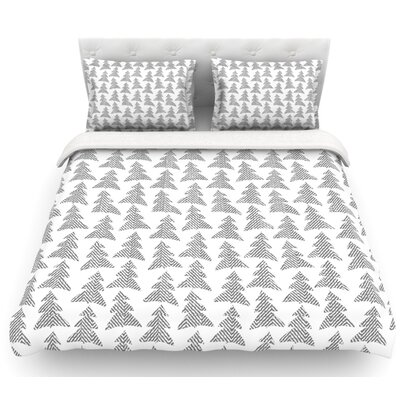 Herringbone Forest by Michelle Drew Featherweight Duvet Cover Color: Gray/White, Size: Queen