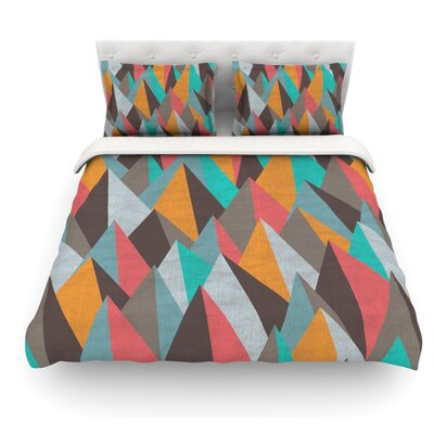 Mountain Peaks by Michelle Drew Featherweight Duvet Cover Color: Orange/Teal, Size: King