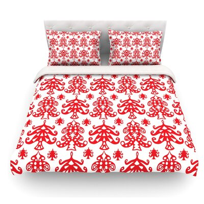 Ornate Trees by Miranda Mol Holiday Featherweight Duvet Cover Color: White, Size: Queen