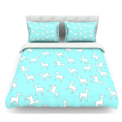 Llama by Monika Strigel Featherweight Duvet Cover Color: Blue/White, Size: King