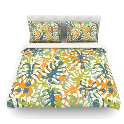 Summer Tropical Leaves by Julia Grifol Featherweight Duvet Cover Size: King