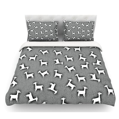 Llama by Monika Strigel Featherweight Duvet Cover Size: King, Color: Gray