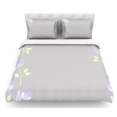Flower II by Louise Featherweight Duvet Cover Size: Twin, Fabric: Lightweight Polyester