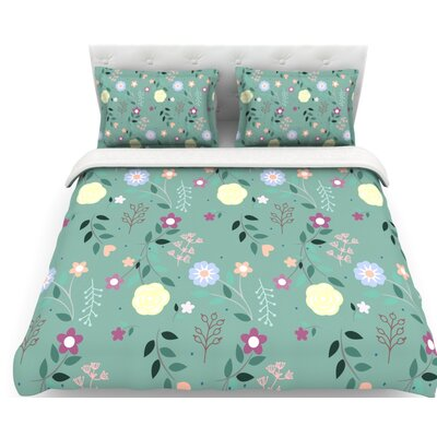 Flora by Louise Flowers Featherweight Duvet Cover Size: Queen, Fabric: Lightweight Polyester