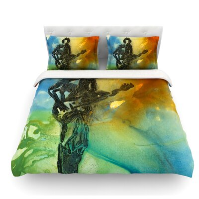 Rhythm by Josh Serafin Guitar Player Featherweight Duvet Cover Size: Twin