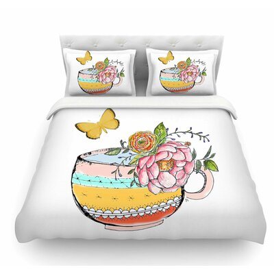 Tea Cup Vase by Jennifer Rizzo Vintage Featherweight Duvet Cover Size: Queen