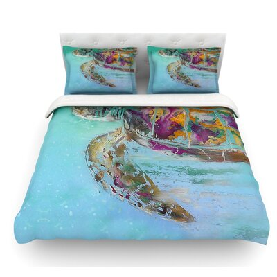 Mommy by Josh Serafin Turtle Featherweight Duvet Cover Size: Twin, Fabric: Lightweight Polyester
