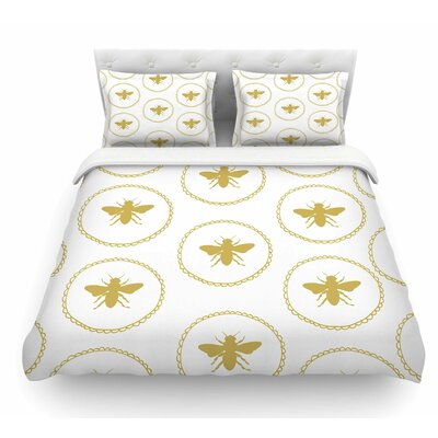 Busy as a Bee Maize by Jennifer Rizzo Nature Featherweight Duvet Cover Size: Queen, Color: White/Gold