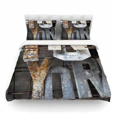 Patina Letters by Jennifer Rizzo Featherweight Duvet Cover Size: Twin