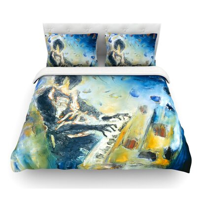 Riders on the Storm by Josh Serafin Piano Player Featherweight Duvet Cover Size: Queen