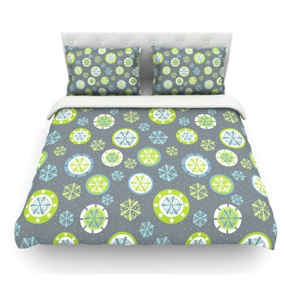 Snow by Julie Hamilton Featherweight Duvet Cover Color: Green/Gray, Size: King