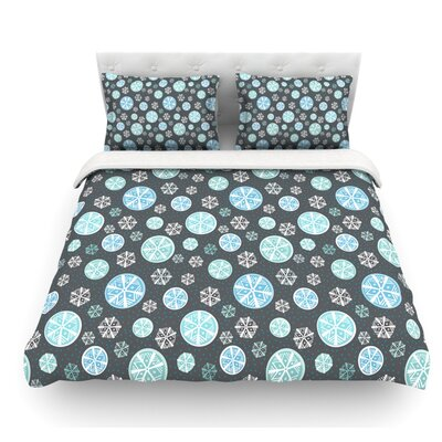 Snow by Julie Hamilton Featherweight Duvet Cover Color: Blue/Gray, Size: King