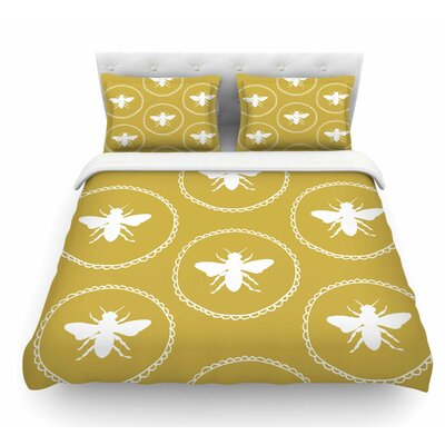 Busy as a Bee Maize by Jennifer Rizzo Nature Featherweight Duvet Cover Color: Yellow/White, Size: King