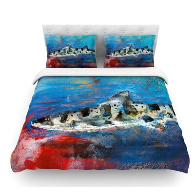 Sea Leopard by Josh Serafin Shark Featherweight Duvet Cover Size: Queen