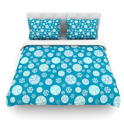 Snow by Julie Hamilton Featherweight Duvet Cover Color: Sky Blue, Size: King