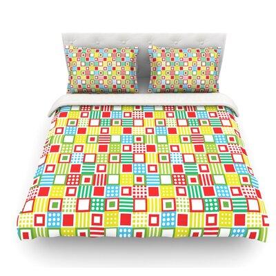 Colorful Check by Julie Hamilton Checkered Featherweight Duvet Cover Size: King