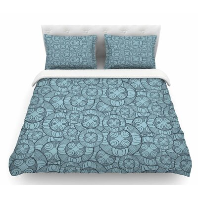 Layered Circles Design by Maike Thoma Floral Featherweight Duvet Cover Size: King