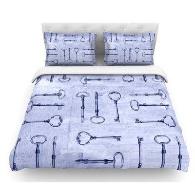 Secret Keys by Marianna Tankelevich Featherweight Duvet Cover Color: Blue/Aqua/Navy, Size: Queen