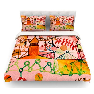 Happy Town by Marianna Tankelevich Featherweight Duvet Cover Size: Twin