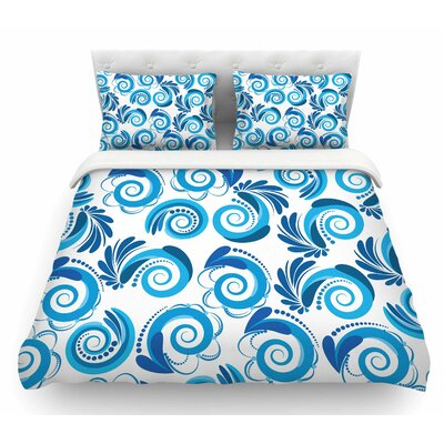 Waves by Maria Bazarova Featherweight Duvet Cover Color: White/Blue, Size: Queen