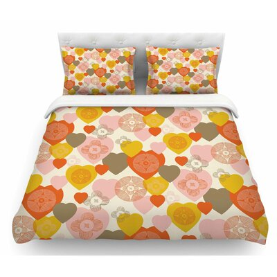 Retro Hearts Design by Maike Thoma Featherweight Duvet Cover Size: Queen