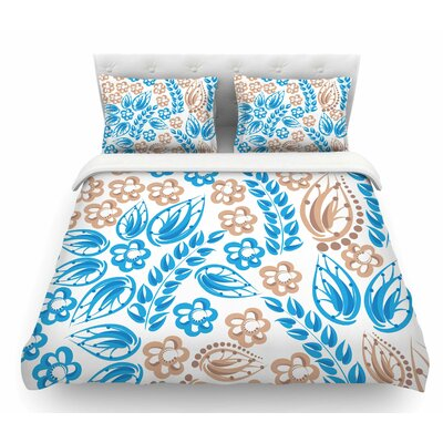 Flowers by Maria Bazarova Featherweight Duvet Cover Color: White/Blue/Beige, Size: Twin