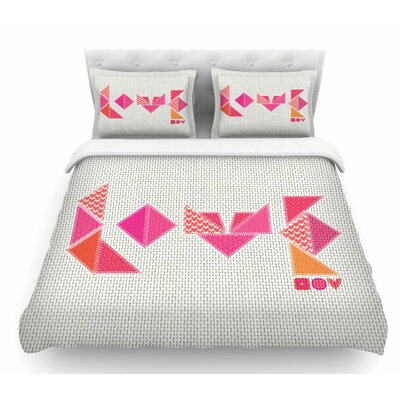 Stitched Love by MaJoBV Geometric Featherweight Duvet Cover Size: King