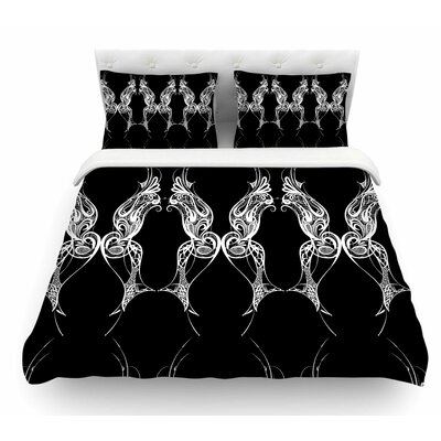 Wings by Maria Bazarova Art Deco Abstract Featherweight Duvet Cover Size: King