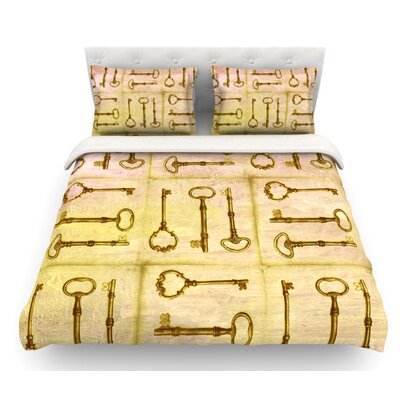 Secret Keys by Marianna Tankelevich Featherweight Duvet Cover Color: Tan/Brown, Size: Queen