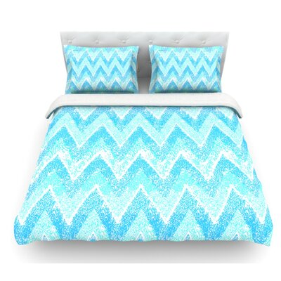Snow Chevron by Marianna Tankelevich Chevron Featherweight Duvet Cover Size: Queen, Fabric: Lightweight Polyester