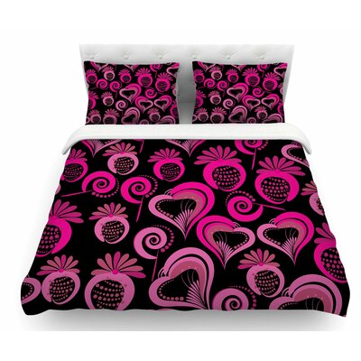 Sweet Love by Maria Bazarova Featherweight Duvet Cover Color: Black/Pink, Size: Twin