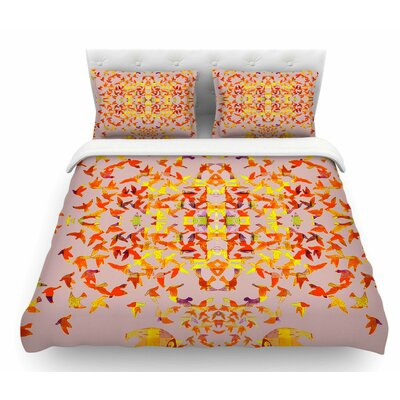 Flying Birds by Marianna Tankelevich Abstract Featherweight Duvet Cover Size: King, Color: Pink