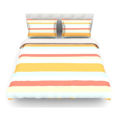 Sand Stripes by Nika Martinez Featherweight Duvet Cover Size: King
