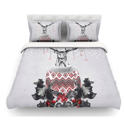 Christmas Deer Snow by Nika Martinez Holiday Featherweight Duvet Cover Size: King, Fabric: Lightweight Polyester