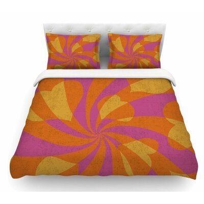 Heart Explosion by Nacho Filella Pop Art Featherweight Duvet Cover Size: King