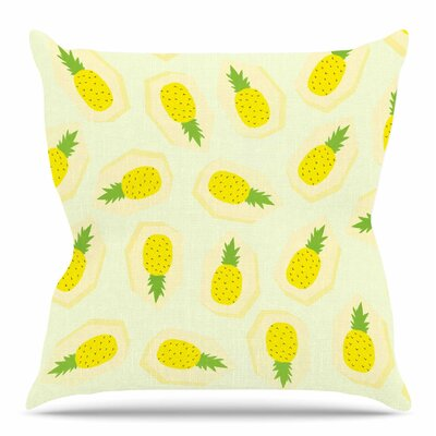 Pineapple Pattern by Strawberringo Throw Pillow Size: 16 H x 16 W x 4 D