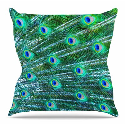 Peacock Feathers by Susan Sanders Throw Pillow Size: 26 H x 26 W x 4 D