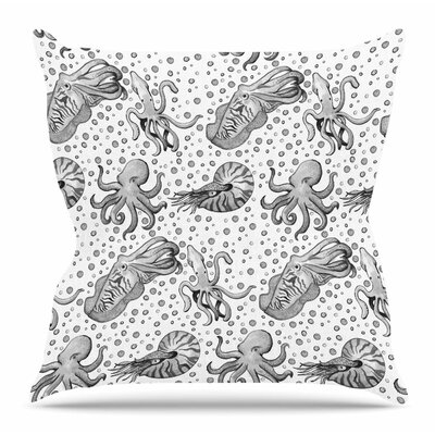 Cephalopods by Stephanie Vaeth Throw Pillow Size: 18 H x 18 W x 4 D