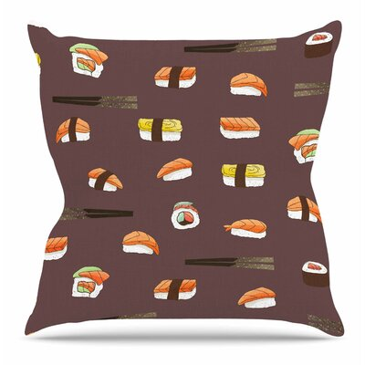 Sushi Pattern by Strawberringo Throw Pillow Size: 20 H x 20 W x 4 D
