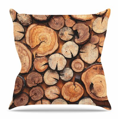 Rustic Wood Logs by Susan Sanders Throw Pillow Size: 20 H x 20 W x 4 D