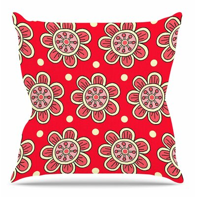 Scarlet Flowers by Sarah Oelerich Throw Pillow Size: 18 H x 18 W x 4 D