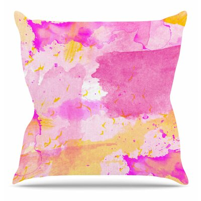 Aqua Pink and Yellow by Shirlei Patricia Muniz Throw Pillow Size: 26 H x 26 W x 4 D