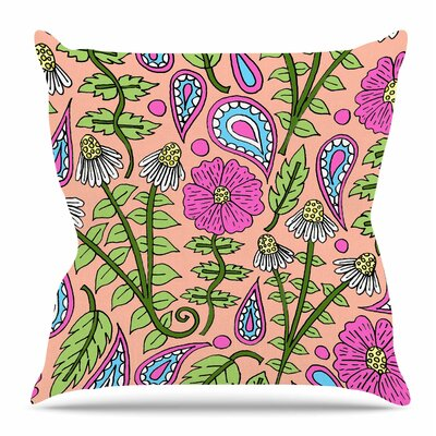 Peach Floral Paisley by Sarah Oelerich Throw Pillow Size: 20 H x 20 W x 4 D