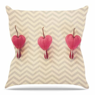 Heart With Chevrons by Robin Dickenson Throw Pillow Size: 16 H x 16 W x 4 D