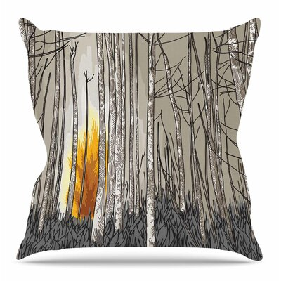 Smokey Forest Fire by Sam Posnick Throw Pillow Size: 26 H x 26 W x 4 D