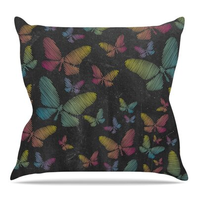 Butterflies by Snap Studio Throw Pillow Color: Black/Pink/Blue